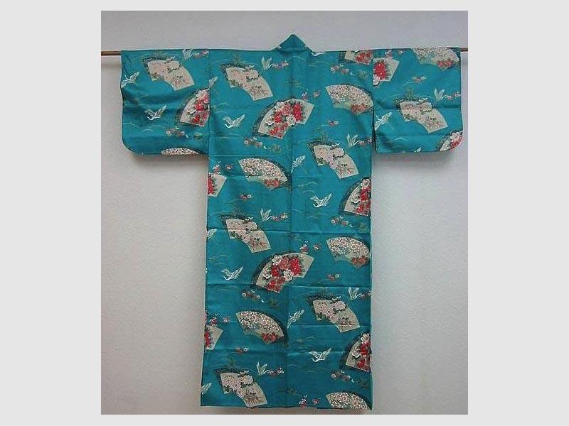 Kimono Sensu Tsuru, aqua-blau