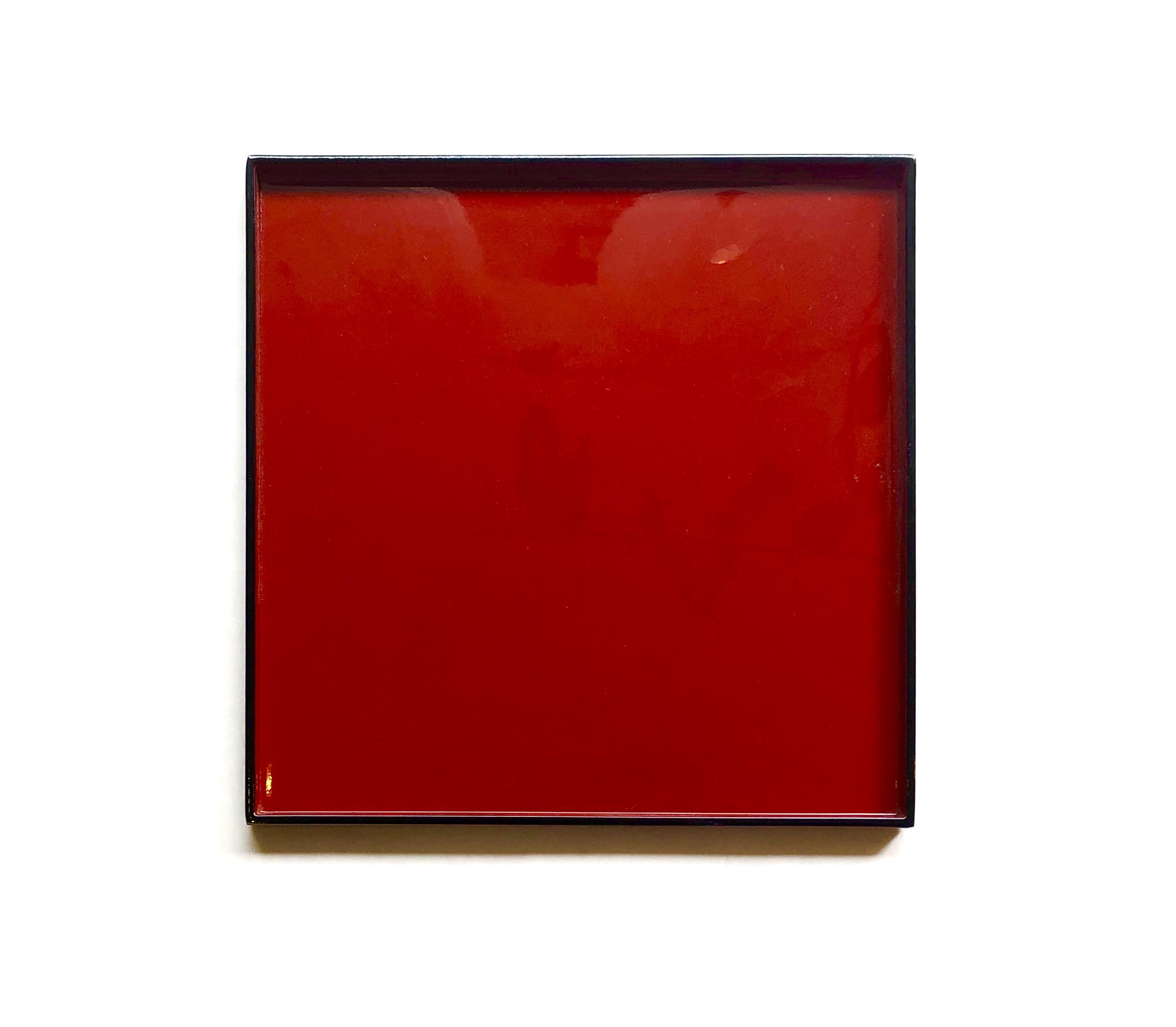 Lacktablett rot-schwarz 30 cm x 30 cm