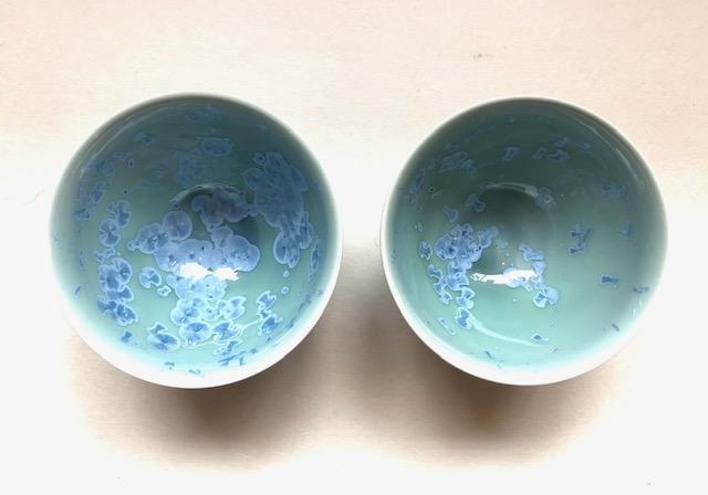 Teeschale blaugrün Kristalle