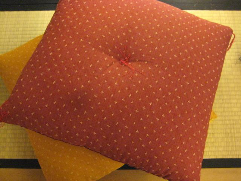 Zabuton-Kissen, rot, gemustert